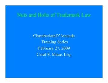Nuts and Bolts of Trademark Law - Chamberlain D'Amanda