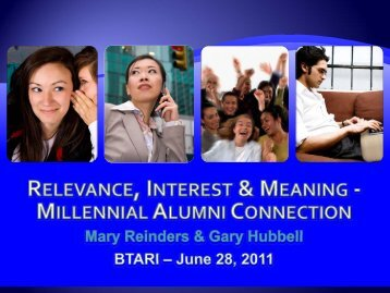 Relevance, Interest & Meaning: Engaging Millennials - Gary Hubbell ...