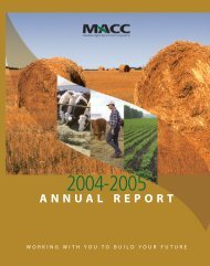 MACC Annual report 132780 - Manitoba Agricultural Services ...