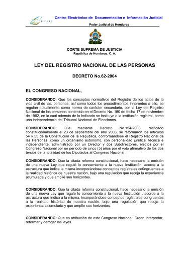 LEY DEL REGISTRO NACIONAL DE LAS PERSONAS - Iberius