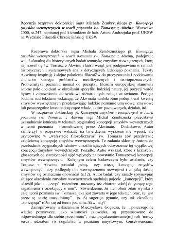 recenzję prof. UKSW dr hab. Tadeusz Klimski. - katedra.uksw.edu.pl