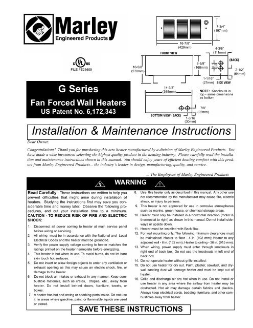 Qmark QFG Electric Fan Forced Wall Heater PDF Install Manual on