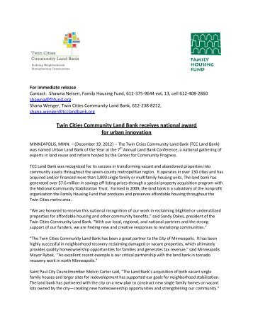 Twin Cities Community Land Bank receives national award for ...