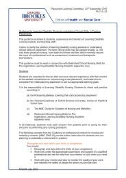 Guidance for Learning Disability Students undertaking Clinical Skills ...