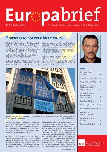 Europabrief Nr. 59, Dezember 2012 - Glante, Norbert