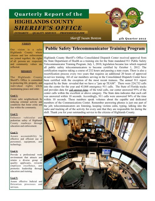 December - Highlands County Sheriff's Office