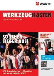 Würth gratuliert zu 11 Medaillen bei den WorldSkills 2013!
