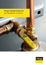 Prospekt Viega Gasarmaturen: Gas-Installationen mit System