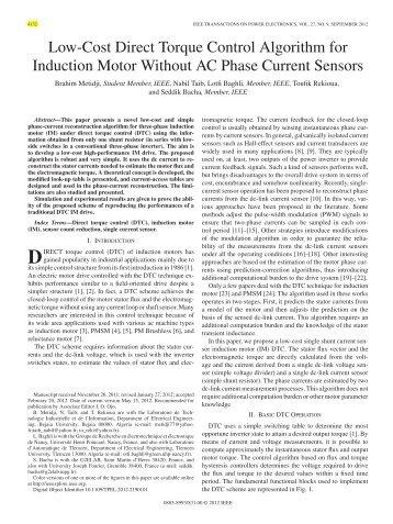 Low-Cost Direct Torque Control Algorithm for ... - IEEE Xplore