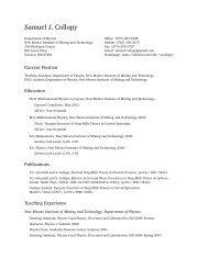 Samuel J. Collopy: Curriculum Vitae - New Mexico Tech