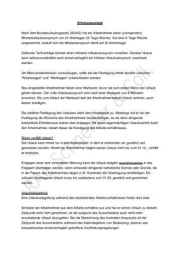 Erholungsurlaub Nach dem Bundesurlaubsgesetz (BUrlG) hat ein ...