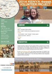 Volunteer Kenya 4 weeks - 1-27 July 2014 - Mission Travel