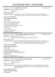 LISTAGEM DE TESES - AGOSTO/2008