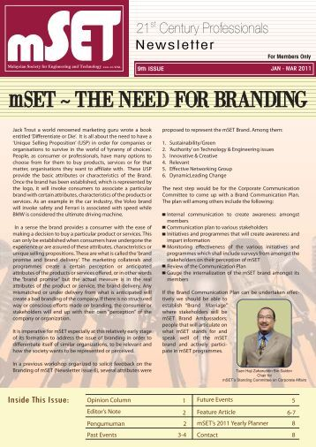 mSET ~ THE NEED FOR BRANDING - malaysian society for ...