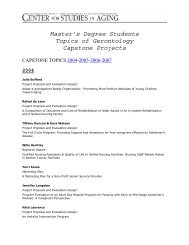 Master's degree students topics of gerontology capstone projects