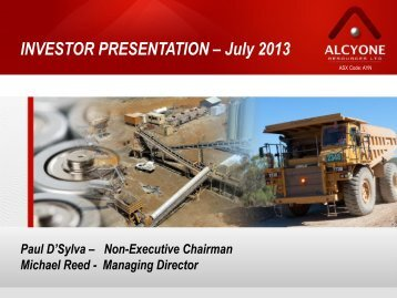 Shareholder Presentation - Alcyone Resources