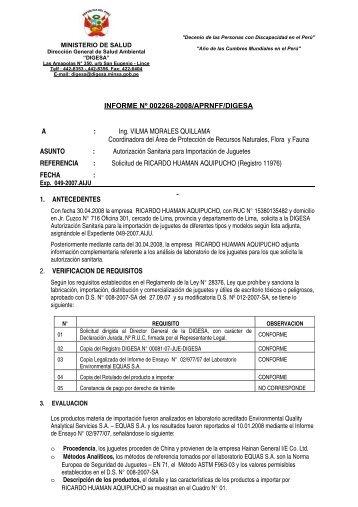 INFORME Nº 002268-2008/APRNFF/DIGESA A : Ing. VILMA ...