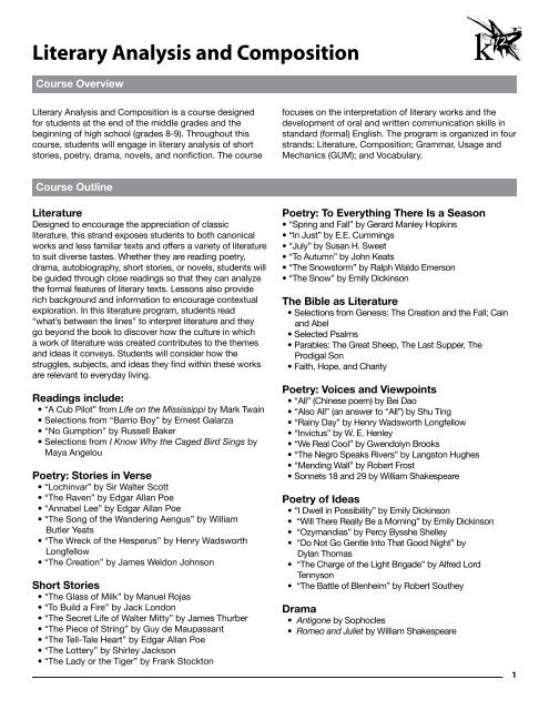 Literary Analysis And Composition K12com