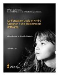 Pour en savoir plus - Fondation Lucie et André Chagnon