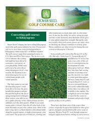Converting golf courses to Kikuyugrass - Stover Seed Company