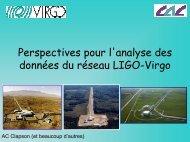 Perspectives pour l'analyse des données du réseau LIGO-Virgo