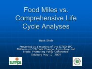 Food Miles vs. Comprehensive Life Cycle Analyses - International ...