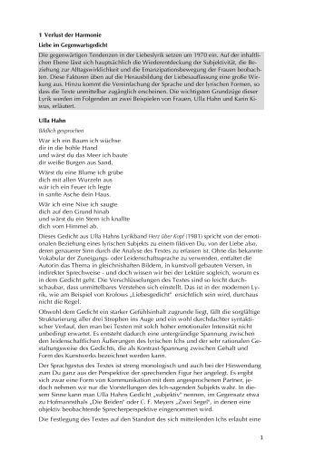 Gedicht bekanntschaft ulla hahn