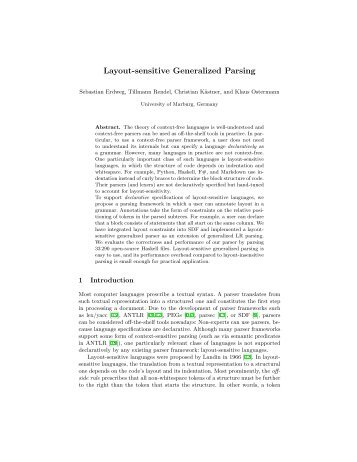 Layout-sensitive Generalized Parsing