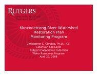 Musconetcong River Watershed Restoration Plan Monitoring Program