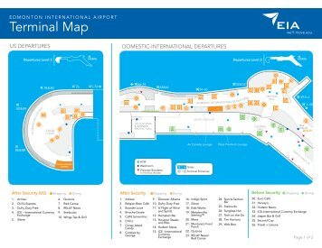 Shopping, Dining and Terminal Map - Edmonton International Airport