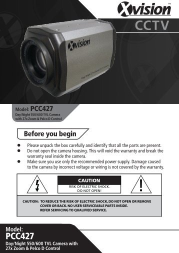 PCC427 User Manual - Xvision