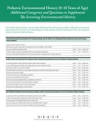 Pediatric Environmental History (0-18 Years of Age) Additional ...