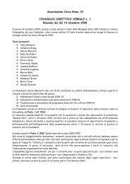Consiglio Direttivo del giorno 14/12/2009 - Civica Roma 19