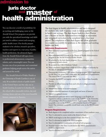 brochure - Arnold School of Public Health - University of South ...