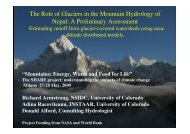 The Role of Glaciers in the Mountain Hydrology of Nepal - Ev-K2-CNR
