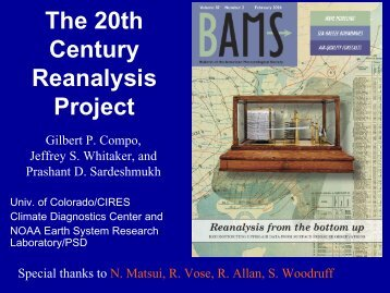 The 20th Century Reanalysis Project - JRA project