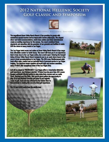 2012 National Hellenic Society Golf Classic and Symposium