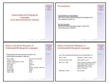 Understudied and Endangered Languages at the Semantics/Syntax ...