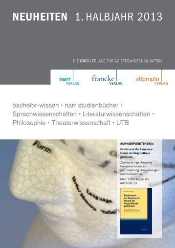 NEUHEITEN 1. HALBJAHR 2013 - Gunter Narr Verlag/A. Francke ...