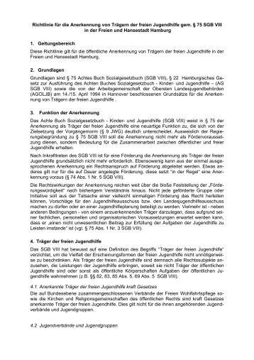 Richtlinien für die Anerkennung von Trägern der freien Jugendhilfe