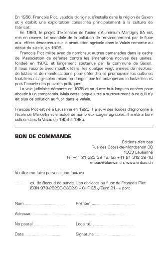 François Piot, Baroud de survie - Editions d'En bas