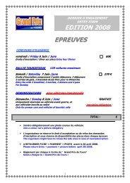 fiche d'inscription 2008 - Grand Prix de Tours