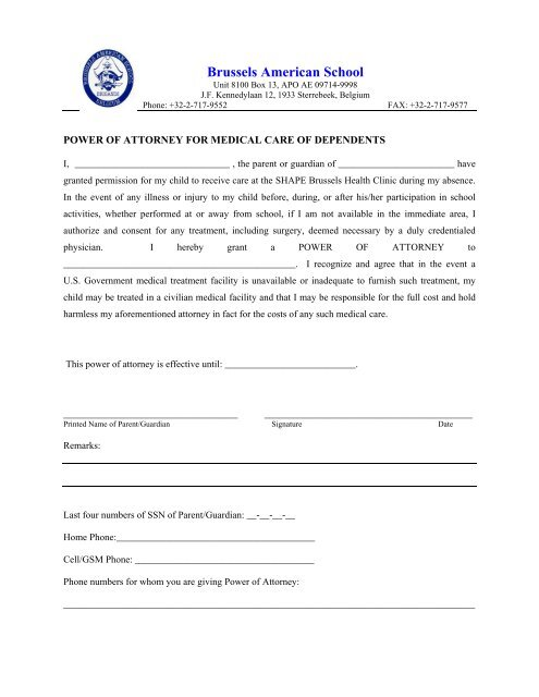 power of attorney form for school  Medical Power of Attorney Form - Brussels American School
