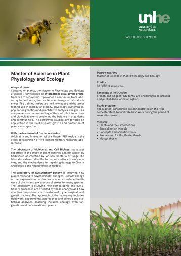Master of Science in Plant Physiology and Ecology
