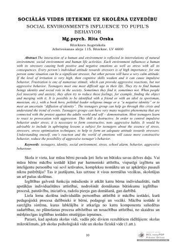 sociālās vides ietekme uz skolēna uzvedību - Rēzeknes Augstskola