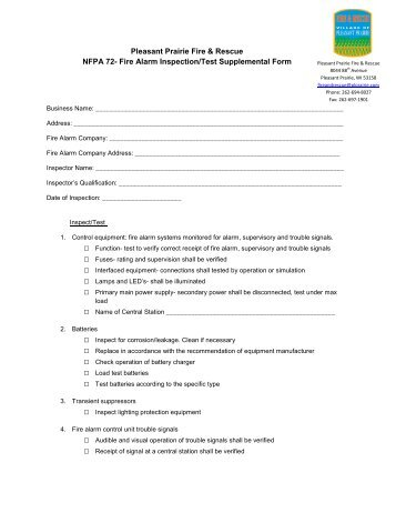 fire alarm system inspection and testing form - Jackson Township ...