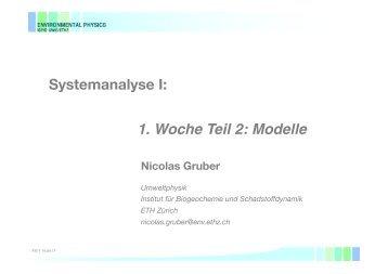 Systemanalyse I: 1. Woche Teil 2: Modelle - ETH Zürich