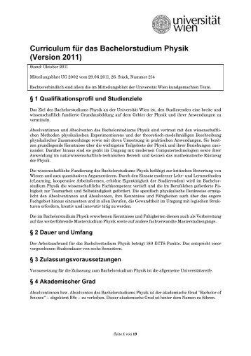Curriculum für das Bachelorstudium Physik (Version 2011)