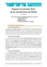 Rapport d'activités 2011 de la coordination de REISO