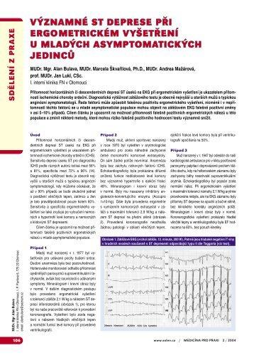 ST deprese při ergometrickém vyšetření - Medicína pro praxi